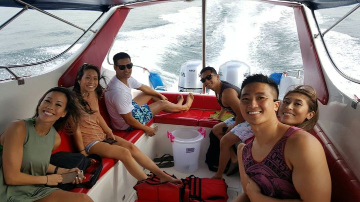 group of friends on a speedboat tour