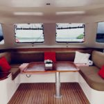 the interior cabin of a catamaran sailing yacht